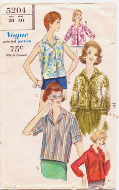 Vintage 1960s Vogue Pattern 5204 Womens Blouse with by CloesCloset, $12.00