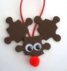 Rudolph reindeer - christmas ornament with puzzle pieces