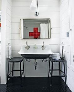 Idea for Sink for Girl's bathroom: Brockway sink by Kohler.Steal This Look: Red Cross Tiled Bath by Kimberly Renner: Remodelista Bad Inspiration, Bathroom Inspiration, Bathroom Ideas, Design Bathroom, Bathroom Interior, Vanity Design, Interior Inspiration, Industrial Bathroom, Modern Bathroom