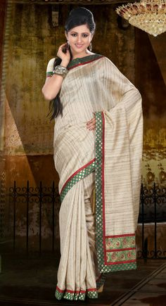 Dapper Cream Embroidered Khicha Silk Saree