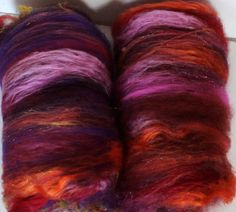 Spinning fiber Crazy Creative fiber batts 2.7ozs Sari via Etsy.