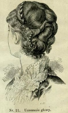 Uczesanie, 1883; Hairstyle, 1883 1800s Hairstyles, Historical Hairstyles, Steampunk Hairstyles, Victorian Hairstyles, Vintage Hairstyles, Cool Hairstyles, 1880s Fashion, Edwardian Fashion, Long Hair Cuts