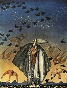 'No sooner had he whistled than he heard a whizzing and a whirring from all quarters, and such a large flock of birds swept down that they blackened all the field in which they settled' Illustration by Kay Nielsen in East of the sun and west of the moon Kay Nielsen, Arthur Rackham, Harry Clarke, East Of The Sun, Art Vintage, Flock Of Birds, William Blake, Fairytale Art, All Nature
