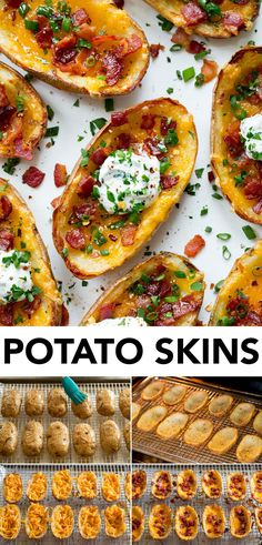 Crispy Potato Skins - baked russet potatoes are hallowed out into a boat-like shape, baked until crisp, filled with cheddar cheese, then finished with bacon, green onions and a herbed sour cream. In other words you know they'll be expectedly delicious with ingredients like that! Recipe on cookingclassy.com Russet Potato Recipes, Baked Potato Recipes, Potato Side Dishes, Russet Potatoes, Potato Skins Appetizer, Crispy Potato Skins, Potatoe Skins Recipe, Crispy Potatoes, Side Dishes