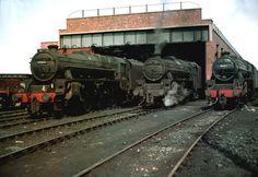 https://flic.kr/p/9WKdco | Llandudno Junction Shed | Featuring Black Fives 45045 + 45427 + 45004 Summer 1964. Steam Locomotive. Паровоз.