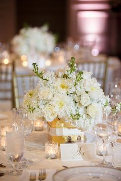 All White Wedding. Reception Table Decorations, Low Centerpieces, Wedding Ceremony Decorations, Wedding Ideas, All White Wedding, Mod Wedding, Orlando Wedding Venues, Wedding Design Inspiration, Wedding Reception Flowers