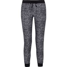 Splendid Printed stretch-cotton tapered pants ($70) ❤ liked on Polyvore featuring pants, bottoms, calças, pantalones, black, cotton stretch pants, black pants, splendid pants, black trousers and pull on pants
