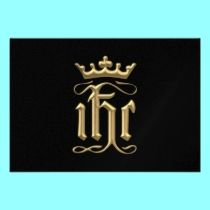 """Golden """"3-D"""" IHC with Crown invitations by Artists4God.  Prices for my products start at about $1.00!"""