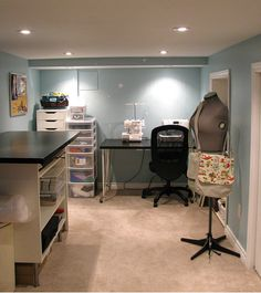 Basement Craft Room Idea. Our space will be almost exactly this size and shape.