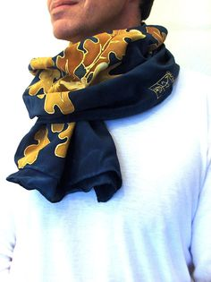Mens Silk Scarf Hand Painted Luxury Silk by SilkScarvesTakuyo