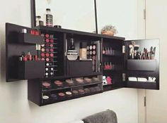 This is serious make up love. Im so excited to finally bring out this new makeup organizer that I designed to make your life that much easier! Its the ultimate makeup vanity solution Wall Mounted Makeup Organizer, Make Up Organizer, Make Up Storage, Vanity Organization, Storage Ideas, Organization Ideas, Wall Storage, Bedroom Organization, Storage Bins