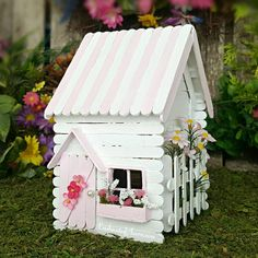 Popsicle Stick Houses, Popsicle Stick Crafts, Craft Stick Crafts, Diy Crafts, Pink And White Flowers, Pastel Pink, Diy Barbie Furniture, Stick Art, Fairy Garden Houses