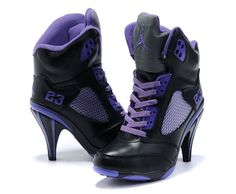 Air Jordan 5 High Heels Black Purple For Women [Air Jordan 5 High ...