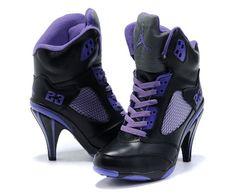 Great Air Jordan 5 High Heels Black Purple For Women