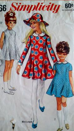 1960's Vintage Sewing Pattern Girl's Mod Dress by Sutlerssundries, $6.00
