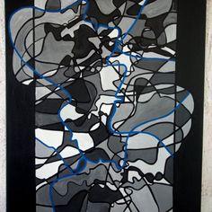 Menschenskinder by he.di - abstrakte Malerei, Acryl auf Leinwand, 100x50 cm