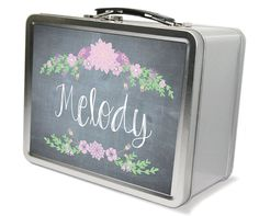 Personalized Chalkboard Design And Floral Lunch Box & Memory Box - Gifts For…