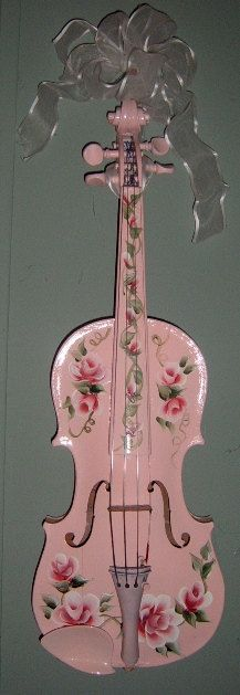RESERVED Hand painted pink fiddle/violin . Decorated with roses. This is a real 3/4 size fiddle. It is not playable. It is for wall decor. It would