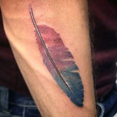 Cool Men's Feather Tattoo