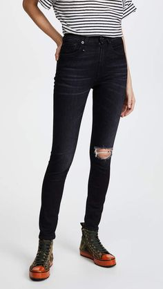 R13 High Rise Skinny Jeans Denim Skinny Jeans, Black Jeans, Pretty Much, Stretch Jeans, Distressed Jeans, Your Style, Tights, Fitness, Pants