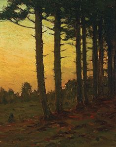"""Under the Pines,"" Charles Warren Eaton, oil on panel, 10 x 8"", private collection."