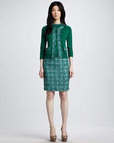 sidekick boucle-trim cardigan & judy boucle skirt by kate spade new york at Neiman Marcus.