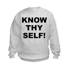 Children's light color sweatshirt with Know Thy Self theme. The Know Thy Self phrase is a spiritual esoteric saying reminding the individual that inner truth and awareness is important to understanding our existence. Available in small (6 - 8), medium (10 - 12), large (14 - 16) size for only $21.99. Go to the link to purchase the product and to see other options – http://www.cafepress.com/stkts