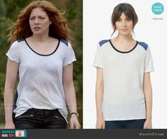 Julia's t-shirt with contrasting back on Under the Dome.  Outfit Details: http://wornontv.net/50216/ #UndertheDome