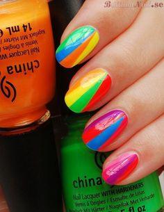 Bright Neon Striped Nails