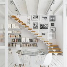 If you live in a two-story house, stairs are inevitable. But they sure do take up a lot of space and what to do with that wedge. The Effective Pictures We Offer You About Stairs diy A quality picture Staircase Storage, Stair Storage, Staircase Design, Staircase Landing, Entryway Stairs, Basement Stairs, Open Stairs, Under Stairs, Stair Gallery