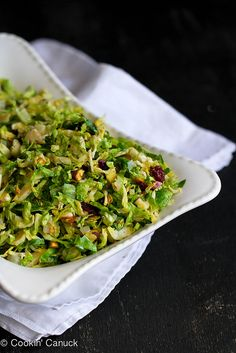Shredded Brussels Sprouts Recipe with Pistachios, Cranberries & Parmesan -Momo