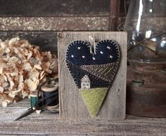 Primitive Folk Art, Wool Applique, Barn Wood, Primitive Decor, Prim Wall Hanger, Farmhouse, Mother's Day by rockriverstitches on Etsy https://www.etsy.com/listing/276811256/primitive-folk-art-wool-applique-barn
