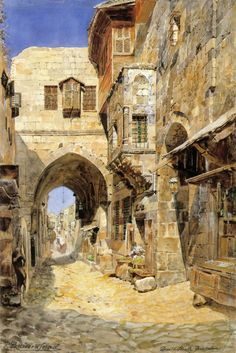 "*🇮🇱 Painting by Gustav Bauernfeind - ""Davidstraße in Jerusalem"" Empire Ottoman, Building Painting, Fantasy City, Arabic Art, Historical Art, Classical Art, Fantasy Inspiration, Old Art, Islamic Art"