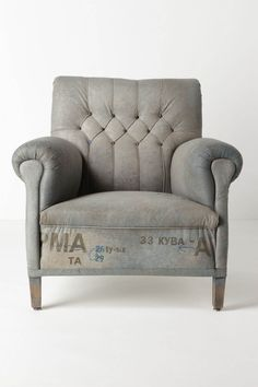 """""""add to bag  Add To WishlistSend To Friendshare:Share This On FacebookShare This On Twitter  DETAILS  Our buyer fell in love with Serbian artist Draga Obradovic's one-of-a-kind chairs at her studio in Como, Italy, where she reupholsters vintage frames in her signature coated cotton canvas fabric. Layered with rich pigment then screenprinted and hand-distressed, each chair ends up with a durable, leather-like finish. This squared, circa-1900 seat is deep-set, diamond-tufted and printed with…"""