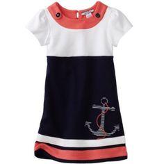 Hartstrings Girls 2-6X Toddler Short Sleeve Anchor Dress