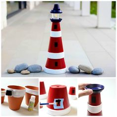 Learn how to make this beautiful lighthouse out of clay pots. And yes, it really lights up!