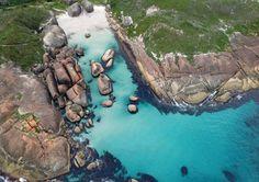 Elephant Rocks Aerial Photograph located in William Bay National Park near Greens Pool Denmark, Western Australia