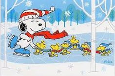 Snoopy, Woodstock and Friends Ice Skating and Playing Crack the Whip