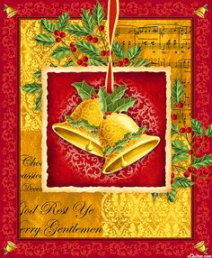 "Christmas Bells - Holiday Jingle - Dk Red/Gold - 24"" x 44"" PANEL"