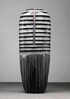 Jun Kaneko Dango, 2001 Hand built glazed ceramic--83h-x-30w-x-16
