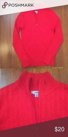 Izod red sweater Bright red sweater with cable knit like design on the front and quarter zipper. 100% cotton. Excellent condition. Izod Sweaters