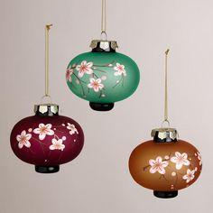 One of my favorite discoveries at WorldMarket.com: Glass Plum Blossom Lantern Ornaments, Set of 3