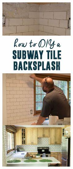 Subway Tile Backsplash, White Subway Tile, Kitchen Backsplash, Subway Tile with Dark Grout, How to Hang Subway Tile, DIY Subway Tile Backsplash, How to Tile www.brightgreendoor.com