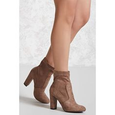 Forever21 Yoki Faux Suede Boots (Wide) ($27) ❤ liked on Polyvore featuring shoes, boots, ankle booties, ankle boots, beige, faux suede ankle boots, beige ankle booties, high heel boots and wide booties