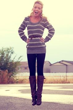 sweaters and boots! I love Fall!