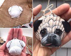 DIY craft supply-blank seashell dog ornament (Basset hounds, King Charles Cavaliers, etc. Shell Ornaments, Painted Ornaments, Dog Ornaments, Diy Christmas Ornaments, Seashell Art, Seashell Crafts, Seashell Projects, Driftwood Projects, Driftwood Art