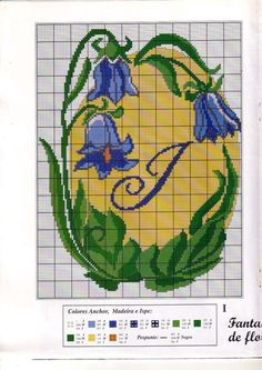 fleur - flower - clochette - point de croix - cross stitch - Blog : http://broderiemimie44.canalblog.com/