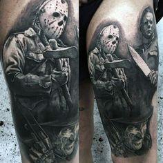 Wicked Tattoos, Creepy Tattoos, Geek Tattoos, Michael Myers, Tattoo Sleeve Designs, Sleeve Tattoos, Foot Tattoos, Tatoos, Skull Rose Tattoos