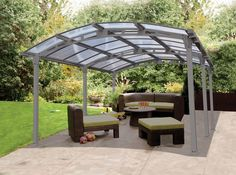 Very Interesting Carport Canopy For Your Exterior Home Ideas: Carport Canopy With Arcadia Carport Patio Cover Kits And Tile Flooring For Exterior Design