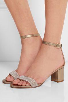 Valentino|Sandales à talons en cuir métallisé ornées de cristaux|NET-A-PORTER.COM